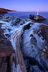 Winter Moonrise Over Lake Superior