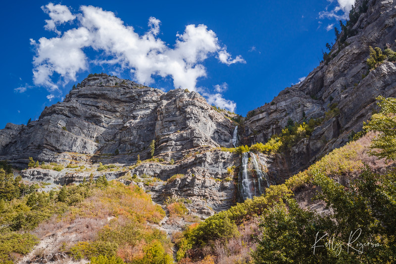 Bridal Veil Falls up Provo Canyon, Utah, late afternoon.