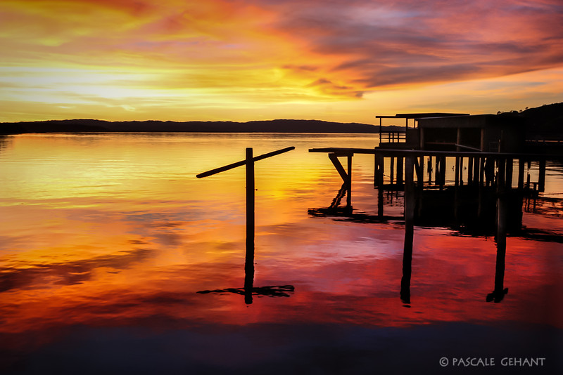 Sunset with pier 2- Clear Lake