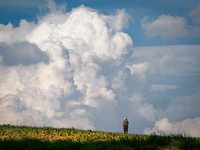 ©2020 Dennis A  Mook; All Rights Reserved; Lancaster County; Amish Farmer With Hand on Heart-2