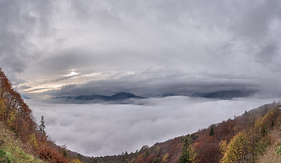 Valle di Cavedine covered by clouds - Vezzano, Trento, Italy - November 1, 2019