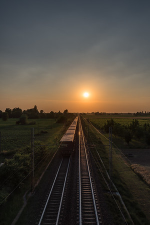 Railway at Sunset - Via Asseverati, Reggio Emilia, Italy - June 9, 2017