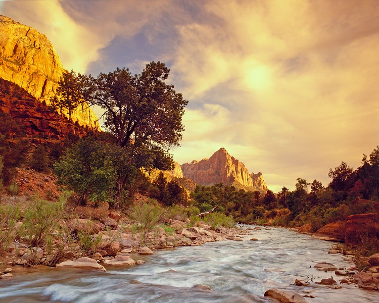 The Watchman and Virgin River, Zion Canyon, Utah