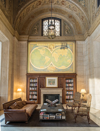 Cunard Library, Carved Stone Fireplace
