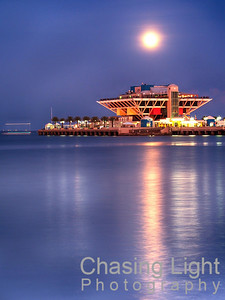 Moonrise over the St. Petersburg Pier