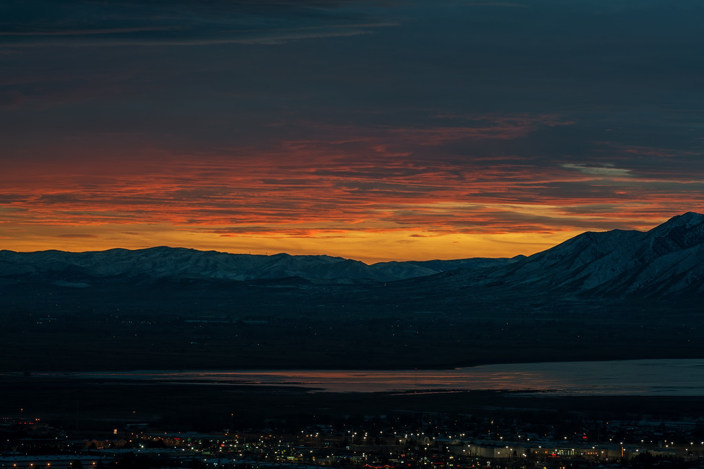 Fiery Sunset over Utah Lake