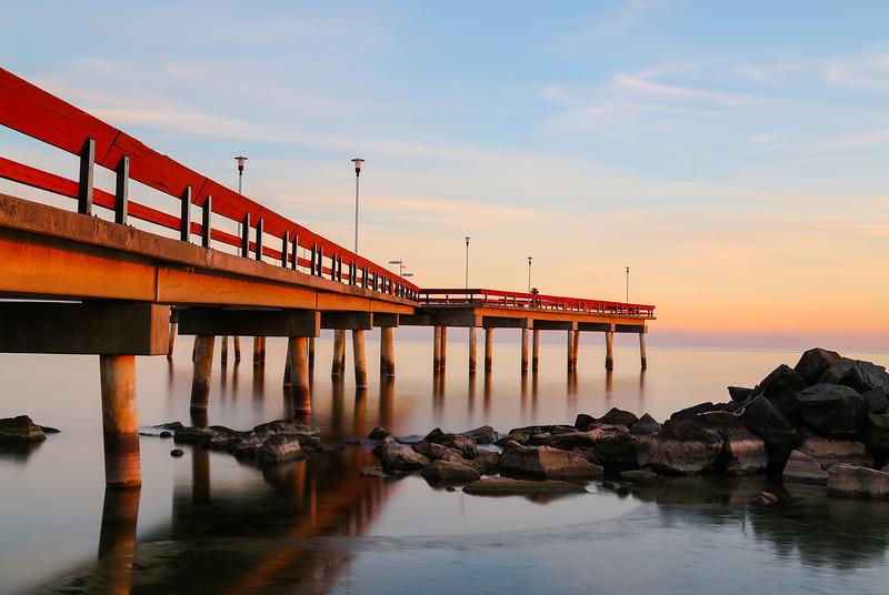 Pier on Lake Ontario at Sunset