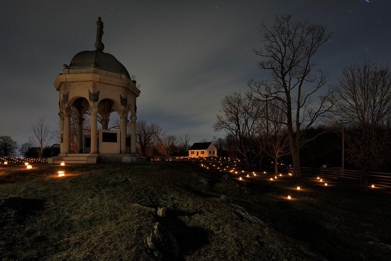 Antietam Memorial Illumination 176.7s, at f/8    E.Comp:0    18mm    WB: AUTO 0.    ISO: 200    Tone:     Sharp:     Camera: NIKON D700on: 2014:12:13 18:25:06