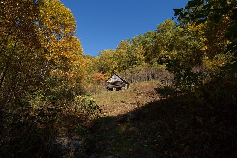 Caudill cabin at head of Basin Creek