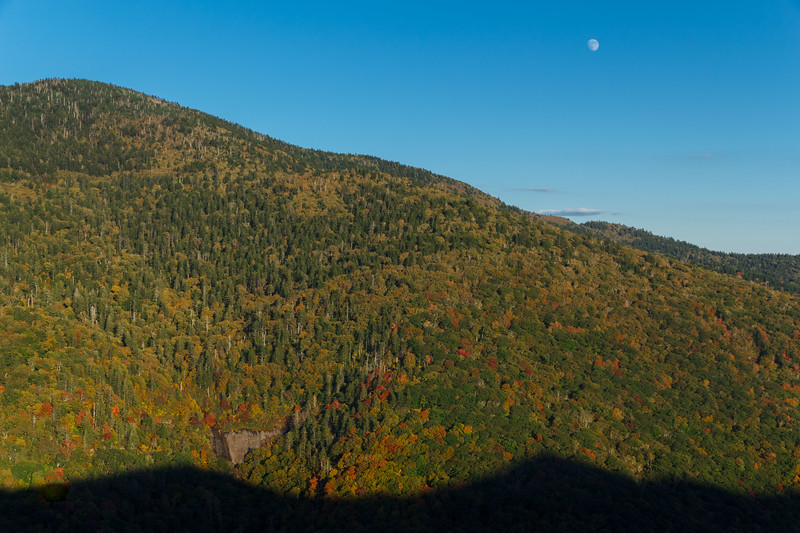Early autumn late afternoon moonrise over Glassmine Falls