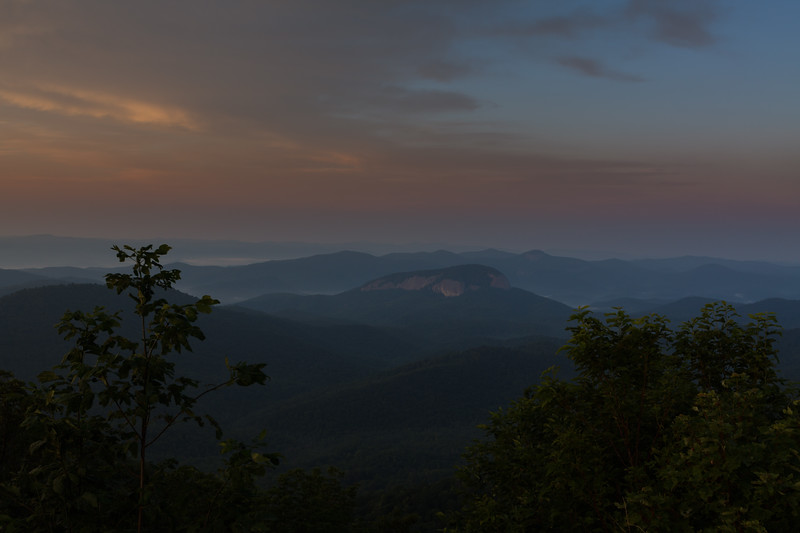 Looking Glass Rock at dawn, Transylvania County NC