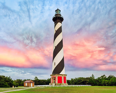 Cape Hatteras lighthouse at sunset, Outerbanks NC.