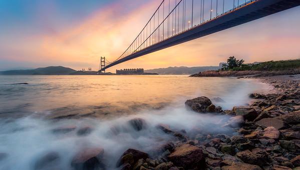 Sundown on Tsing Ma Bridge