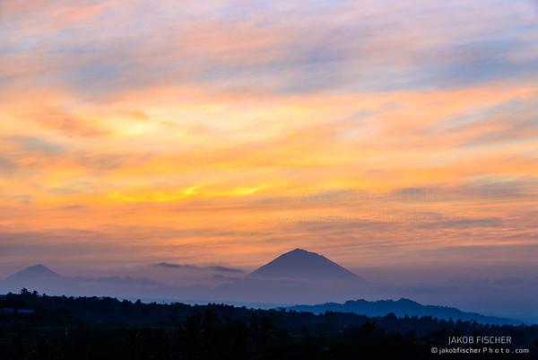 Look at volcano Gunung Agung Summit at sunrise, Jatiluwih