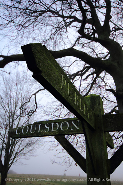 "The signpost landmark pointing to Coulsdon, Purley and Chaldon located near ""the"" tree on Farthing Downs, Surrey"