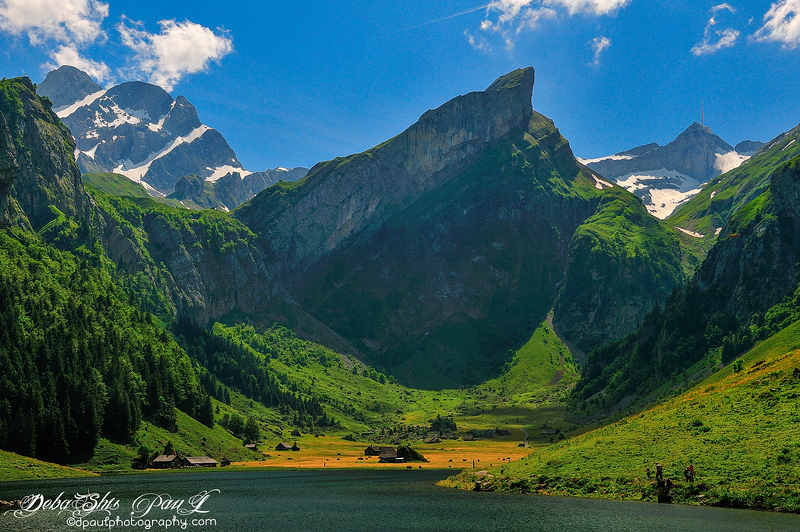 Swiss Alps beauty of Summer - Lashing green with Bright sunshine and Snowy mountains ... @ Seealpsee Lake - Ebenalp , Switzerland
