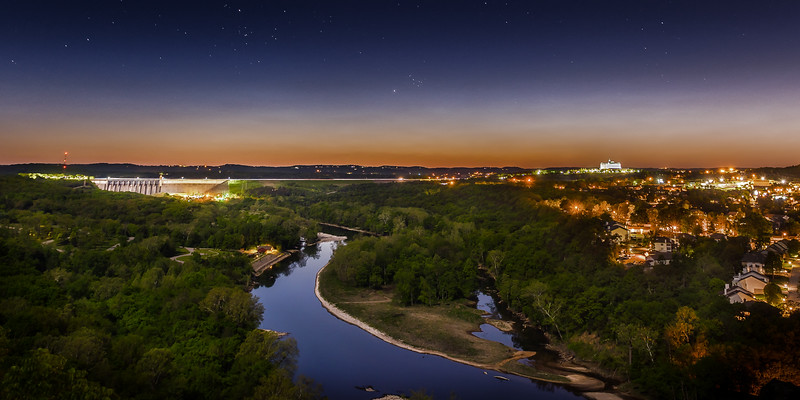 Table Rock Dam at Night. Branson, MO