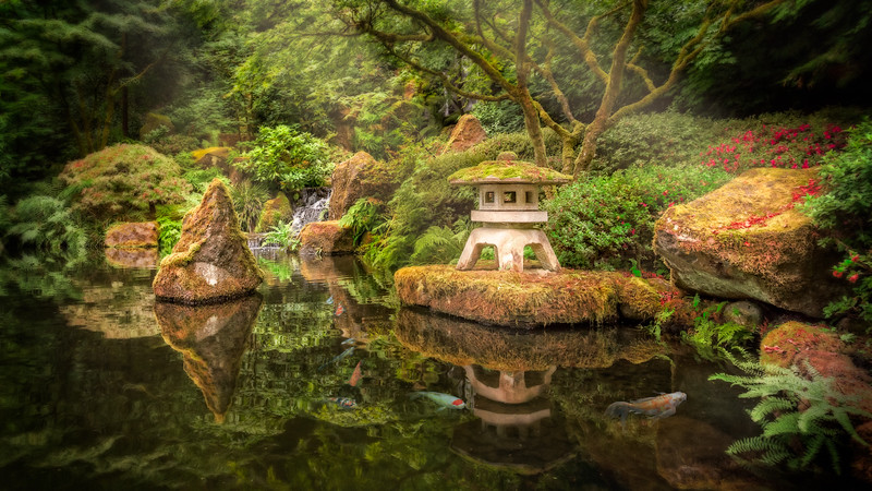 Stone Lantern above Koi Pond, Portland Japanese Garden
