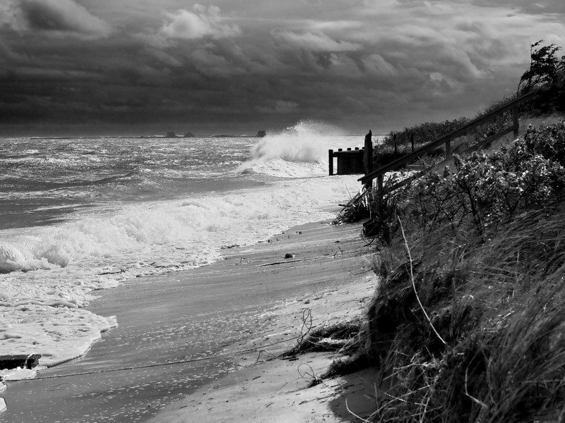 The beach along Scatteree Road, Chatham, during the nor'easter.