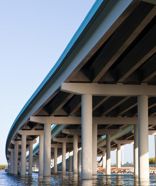 "The new bridge at Jewfish Creek as it ""dives"" into Key Largo."