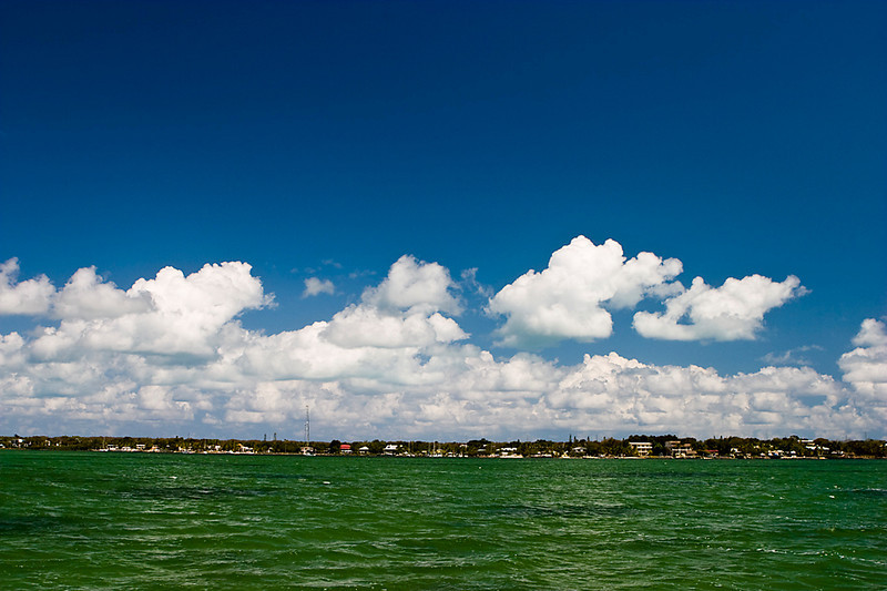Puffy White Clouds over Florida Bay, the Keys.