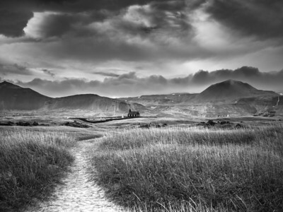 Distant Church  Black and White Photography by Wayne Heim