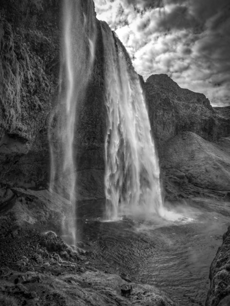 Side View of Kirkjufellfoss  Black and White Photography by Wayne Heim