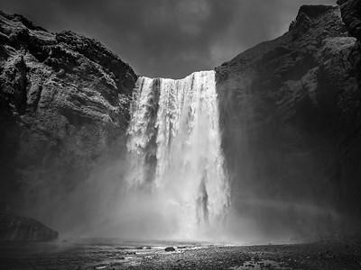 Closer Skogarfoss  Black and White Photography by Wayne Heim