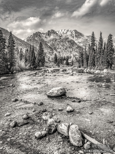 Stream to the Tetons  Black and White Photography by Wayne Heim