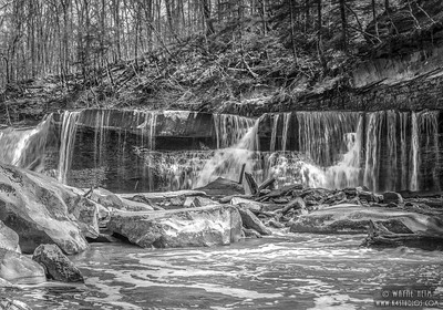 Water Falls in Park  Black & White Photography by Wayne Heim