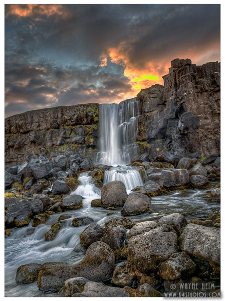 Sunset Waterfall    Photography by Wayne Heim