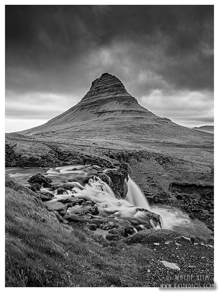 Kirkjufell Mountain    Black and White photography by Wayne Heim