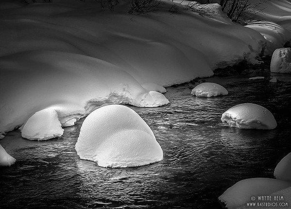 """Snowcaps"".  B/W Photography by Wayne Heim."