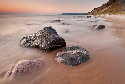 Boulders in Lake Michigan at the base of the Empire Bluffs