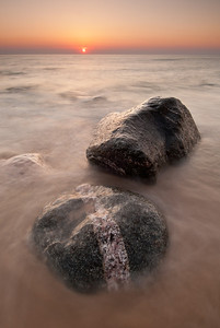 Boulders at the base of Empire Bluff on Lake Michigan's Sleeping Bear Dunes