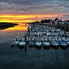 coucher de soleil depuis le pont rose sur le port d'Etaples