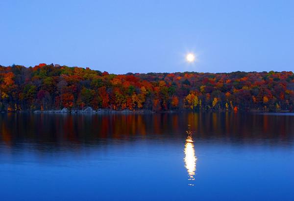 Moonrise over Croton Reservoir
