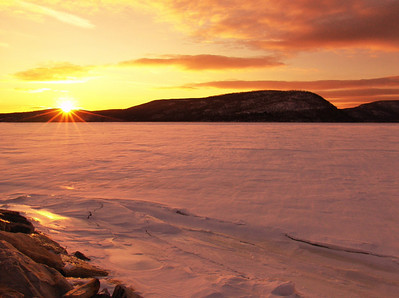 Pink Ice Sunset, Hudson River at Peekskill