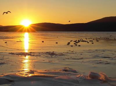 Icy Sunset, Hudson River at Peekskill