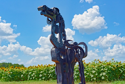 Iron Horse with sunflower backdrop