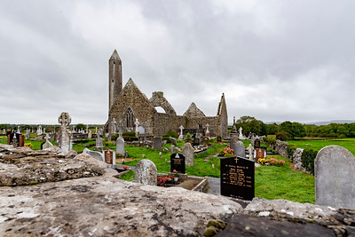 Kilmacduagh Tower and cemetery ruins