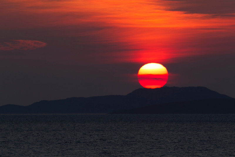 Sun Setting. Summer Isles. Assynt. Sutherland. Picture in the local Newspaper.