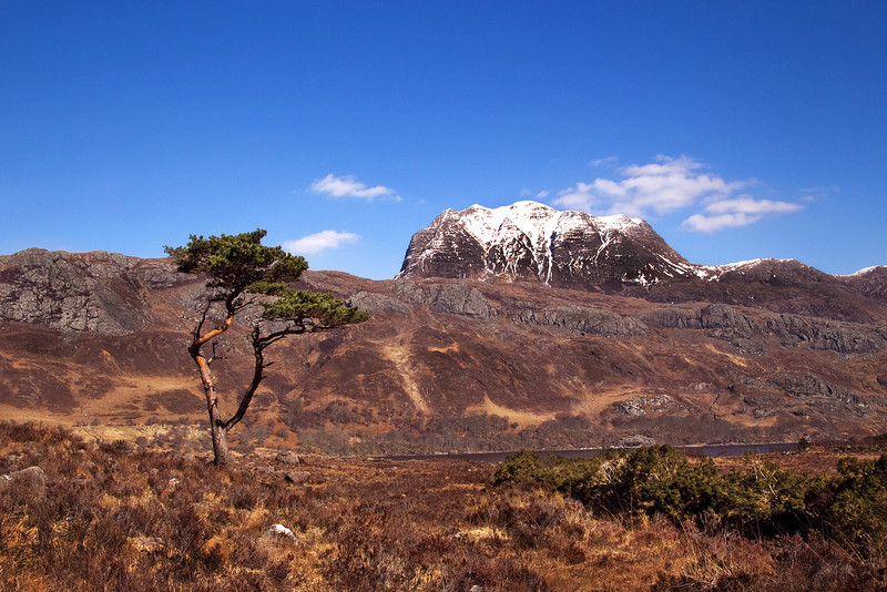 Slioch the Mountain behind Loch maree. Wester Ross.