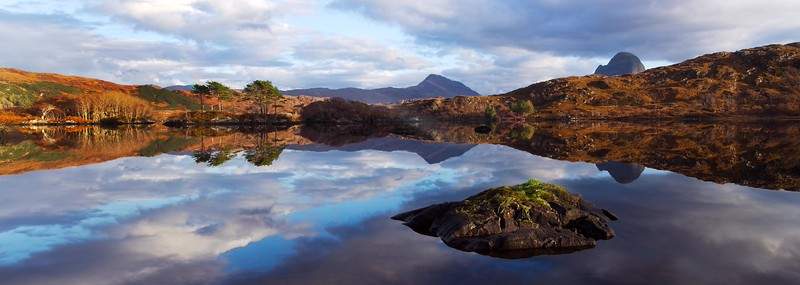 Reflection and the Mountain of Suilven in the backdrop. John Chapman.