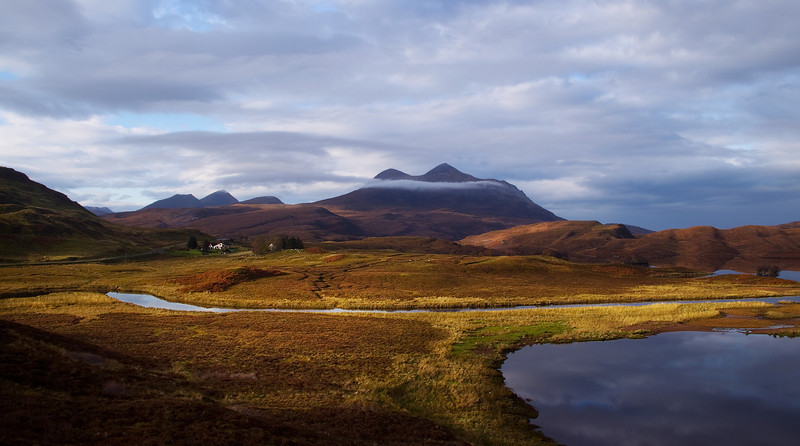 From the left the Mountains are Cul Beag then Cul Mor. Assynt. Sutherland.