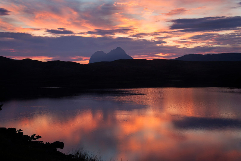 Sunset at Suilven. Assynt. West Coast of Scotland. Picture in Local Newspaper.