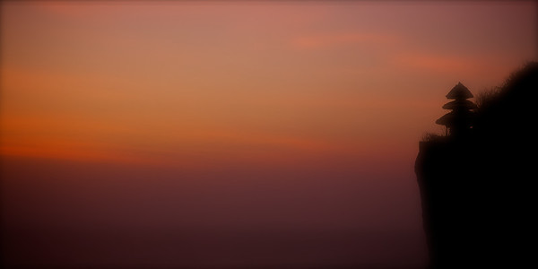 Mystical Temple Sunset - Sunset at the cliffside Hindu temple at Uluwatu, Bali. ~WIDE VIEW~