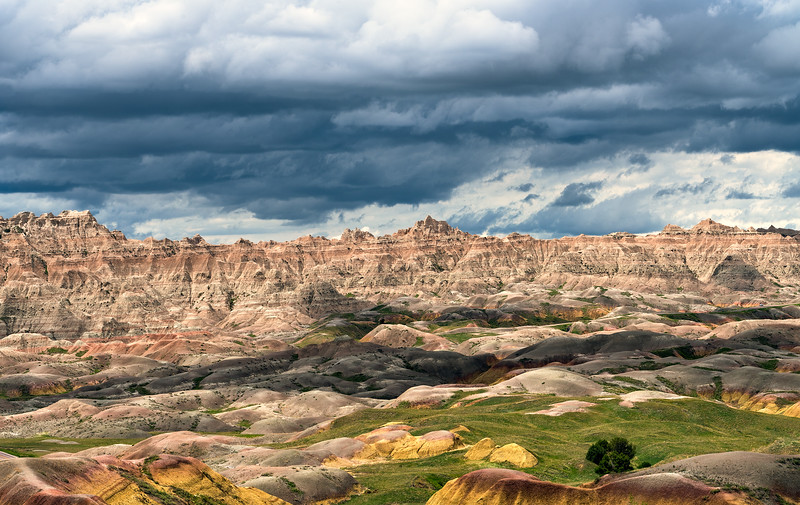 Passing clouds/deep shadows in  Badlands National Park