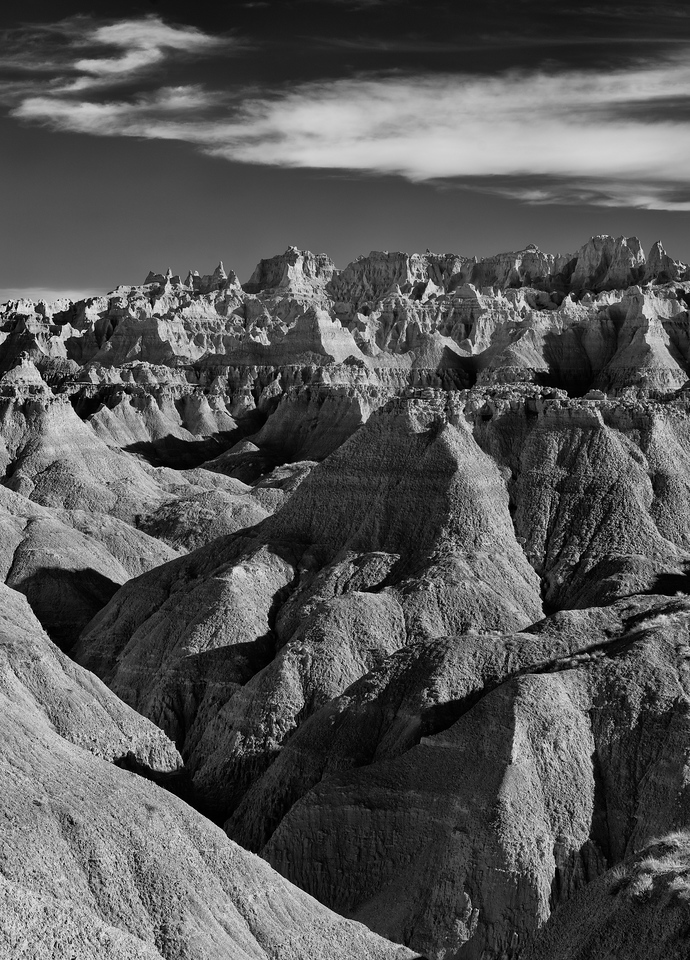 No trees in sight: Badlands in Infrared and fading sun