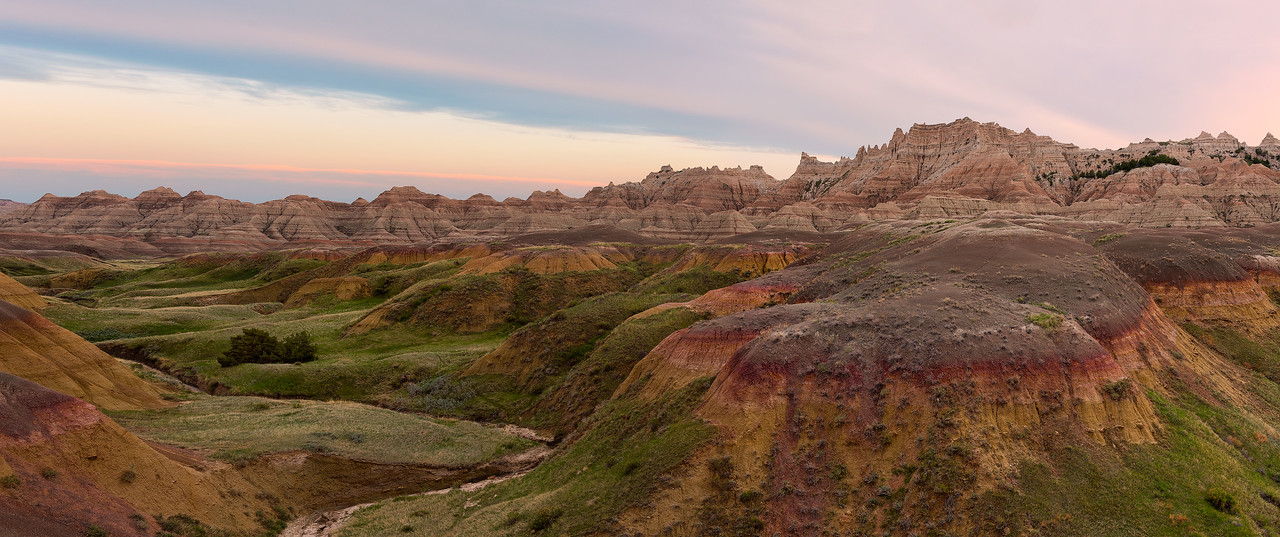 Sunset panorama in the Badlands